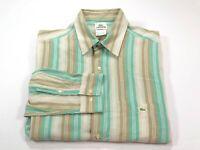 Lacoste L Men's Long Sleeve Cotton Stripe Muted Color Shirt Large