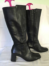 RARE DESIGNER BLACK LEATHER KNEE HIGH BOOTS UK 6 EUR 39 LETHER LINING