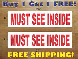 "MUST SEE INSIDE 6""x24"" REAL ESTATE RIDER SIGNS Buy 1 Get 1 FREE 2 Sided Plastic"