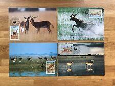 ZAMBIA 1987 PHQ MAXI CARDS x 4 WWF ANTELOPE BLACK LECHWE