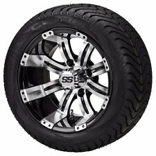 Set of 4 - 215/35-12 Tire on a 12x7 Black/Machined Type 9 Wheel w/FREE freight