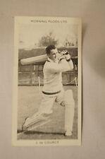 1953 - Vintage - Morning Foods Ltd. - Cricket Card - J. de Courcy - N.S.W.