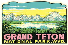 Grand Teton National Park    Vintage 1950's Style   Travel Sticker Decal
