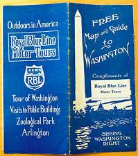 Early Royal Blue Line Motor Tours Washington DC Map & Guide 1910s?