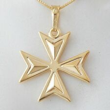 Malta MALTESE CROSS Jewellery Hallmarked 18ct 18k Gold Pendant Charm Genuine 750