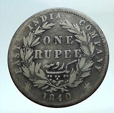 1840 BRITISH INDIA UK COLONY Queen Victoria Genuine Silver RUPEE Coin i79481