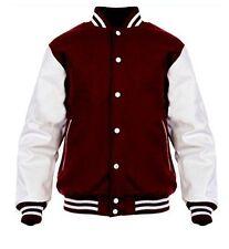 American windhound College veste bordeaux avec blanche véritable cuir manches M