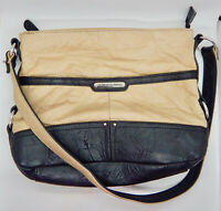STONE MOUNTAIN LEATHER Black / Tan  MACY Hobo Shoulder Bag Cell Phone Pocket