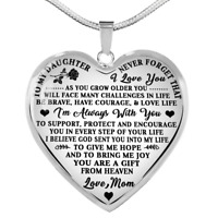 To My Daughter Necklace Love Mom Heart Pendant Mother To Daughter Gifts Necklace