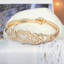 Hot Fashion Women's Gold Plated Crystal Cuff Bangle Rhinestone Heart Bracelet