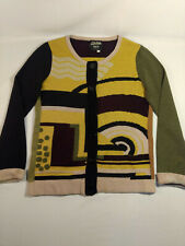Jean Paul Gaultier Maille Classique Geometric Print Knit Cardigan Size Small