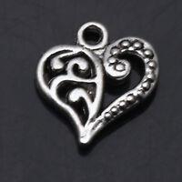 Hollow Flower Heart Tibetan Silver Pendants Charms Jewelry Finding DIY