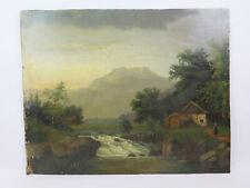 Antike Malerei Derartige Öl Leinwand Tabelle Landschaft Von Bild Anfang Jh X8