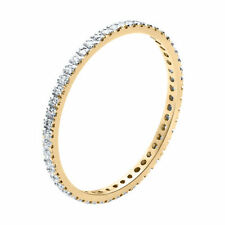 Good Cut Round Eternity Yellow Gold Fine Diamond Rings