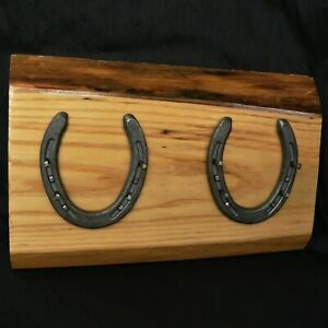 DOUBLE HORSESHOE KEY / COAT HANGER TACK RACK ON ASH BASE ~ ARTISAN MADE RURAL