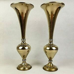 Pair of Vintage Heavy Brass Vases (13 1/2 Inches Tall & 1.1 KG Each)