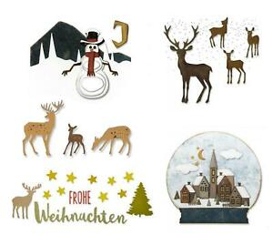 4-26 Stanzschablone Weihnachten Rentiere Schneekugel M, Sizzix Thinlits
