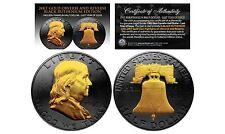 BLACK RUTHENIUM 1963 BEN FRANKLIN HALF DOLLAR 24KT GOLD 2-SIDED COIN! W/H COA!