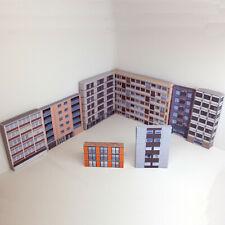 More details for 1:148 card n gauge model railway residential flats pack of 8 x buildings p-r-001