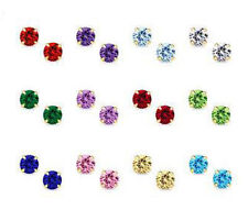 14K Yellow / White Gold Round CZ Birthstone Stud Basket Earrings Screw Back ALL.