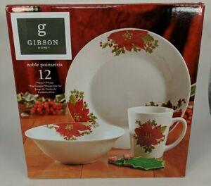 Gibson Dinnerware 12 Pc Set 4 Plates Bowls Mugs Noble Poinsettia Ceramic China