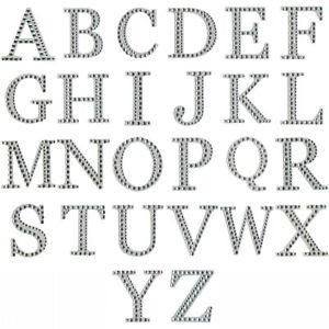 5cm Large Letter - Self Adhesive Silver Glitter Diamonte Scrapbooks/Crafts