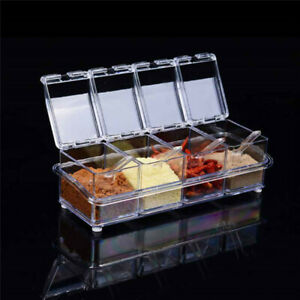 With spoons Spice Box Jar Dispenser Storage Acrlic Condiment Container Seasoning