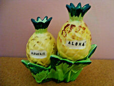 #76 Hawaii Three Piece Pineapple Salt & Pepper Shakes with Caddy Made in Japan