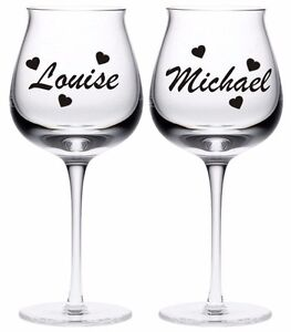 2 x PERSONALISED NAME WINE GLASS PROSECCO BOTTLE KIDS HEN VINYL STICKERS DECAL