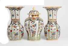 Antique pottery polychrome Petrus regout maastricht VASES Set 1920 holland