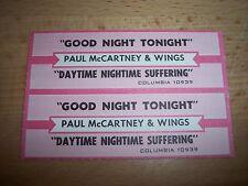 "2 Paul McCartney Wings Good Night Tonight Jukebox Title Strips CD 7"" 45RPM"