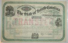 1878 State of South Carolina Deficency Stock Certificate Bond