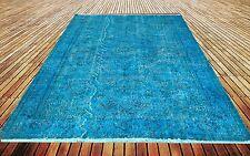 "8' 9"" X 5'7""    Turkish Vintage Turquoise BLUE AQUA hawaii  Overdyed carpet rug"