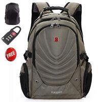 Men's Swiss Gear Backpack Laptop School Bag  Large Travel Rucksack Khaki 15.6''