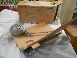 Vintage New Old Stock Dazor 1102 Adjustable - Arm Lamp Gray Vented Reflector
