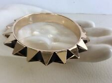 Gold Tone goth bangle bracelet with spikes and black faux leather Retro Cosplay