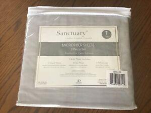 Sanctuary Microfiber Twin Sheet Set Brushed Microfiber Grey Gray 3 Piece Set