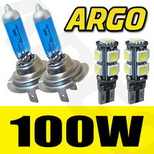 H7 100W XENON SUPER WHITE BULBS 8500K X2 PAIR 501 9 SMD LED CANBUS SIDELIGHT SET