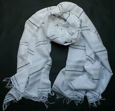 LEMLEM LARGE WHITE COTTON SCARF / SHAWL with BLACK BLUE stripes MADE IN ETHIOPIA
