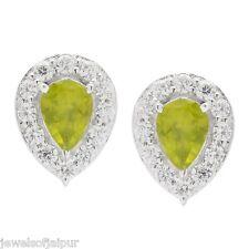 925 Sterling Silver Peridot American Diamond Teardrop Pear Stud Earrings Jewelry