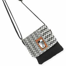 Laurel Burch Wild Cat Black White Small Purse Flap Over Woven Crossbody Handbag