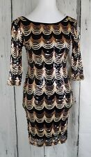 Crystal Doll M Sequin Dress Bodycon 3/4 Sleeve Party Scalloped Gold Black D08-10