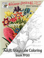 Adult Coloring Book (24 pages) Flowers Wildflowers Bouquet FLONZ grayscale 001