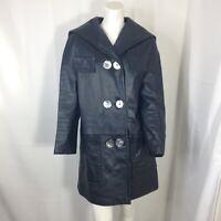 Womens Black button Front Vintage 70's Leather Coat size 8