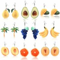 New Acrylic 3D Double-Side Fruit Orange Dangle Drop Hook Earrings Women Jewelry
