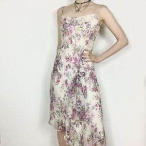 Début Silk Slip Dress S 8 Floaty Ghost Bay Midi Kookai Cute Bow Pink Cami y2k