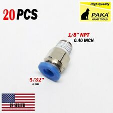 "20 X Male Straight Connector Tube Od 5/32"" (4mm)X Npt 1/8 Pu Air Push In Fitting"