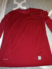 MENS NIKE PRO COMBAT DRI-FIT FITTED RED LS COMPRESSION SHIRT XL