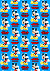 MICKEY MOUSE Personalised Gift Wrap - Disney Wrapping Paper - Personalized