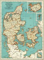 1937 Antique DENMARK Map Collectible Map of ICELAND Map Gallery Wall Art 7863